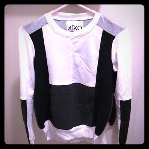 Aiko Leather Trim Sweatshirt